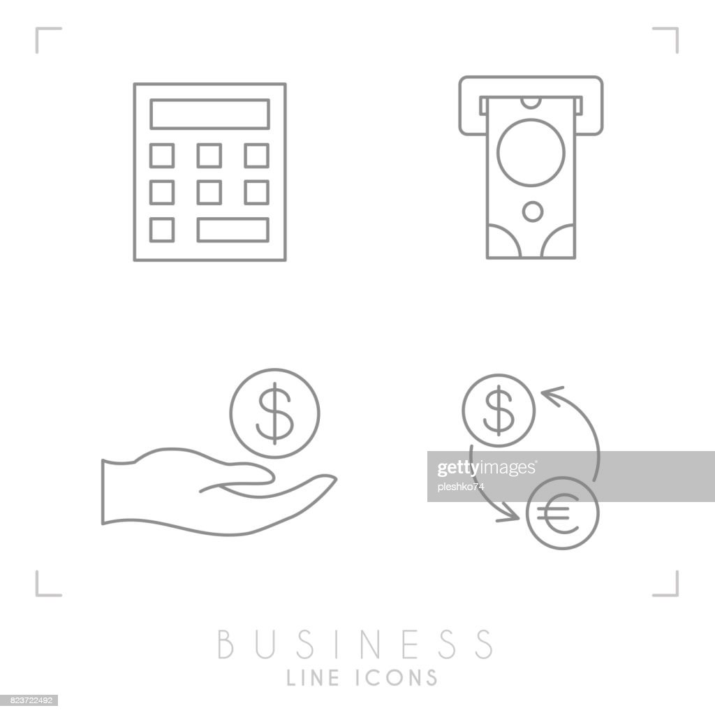 Set of line thin business and financial icons.