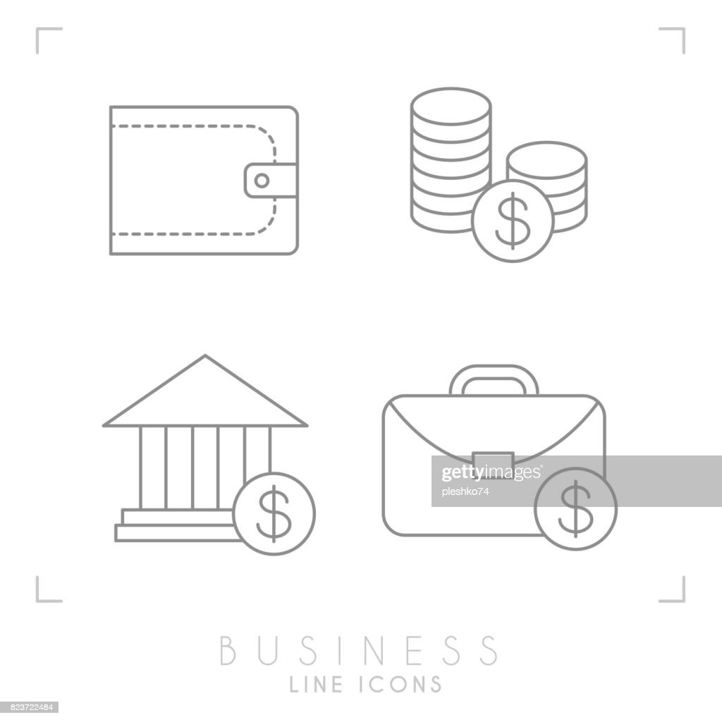 Set of line thin business and financial icons. Wallet, coins, bank and brief case.