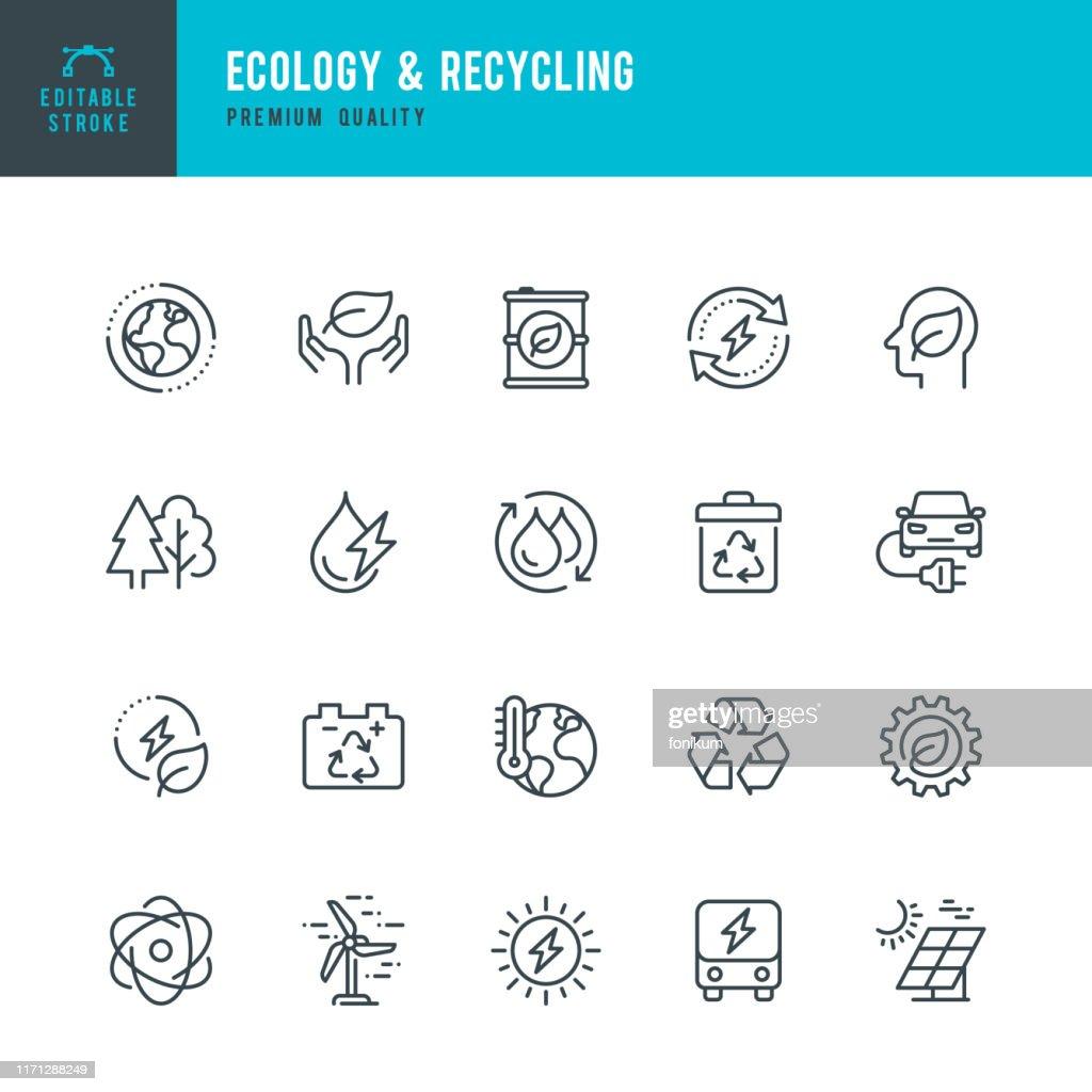 ECOLOGY & RECYCLING - set di icone vettoriali di linea. Tratto modificabile. Pixel Perfetto. Set contiene icone come Cambiamento Climatico, Energia Alternativa, Riciclaggio, Tecnologia Verde. : Illustrazione stock