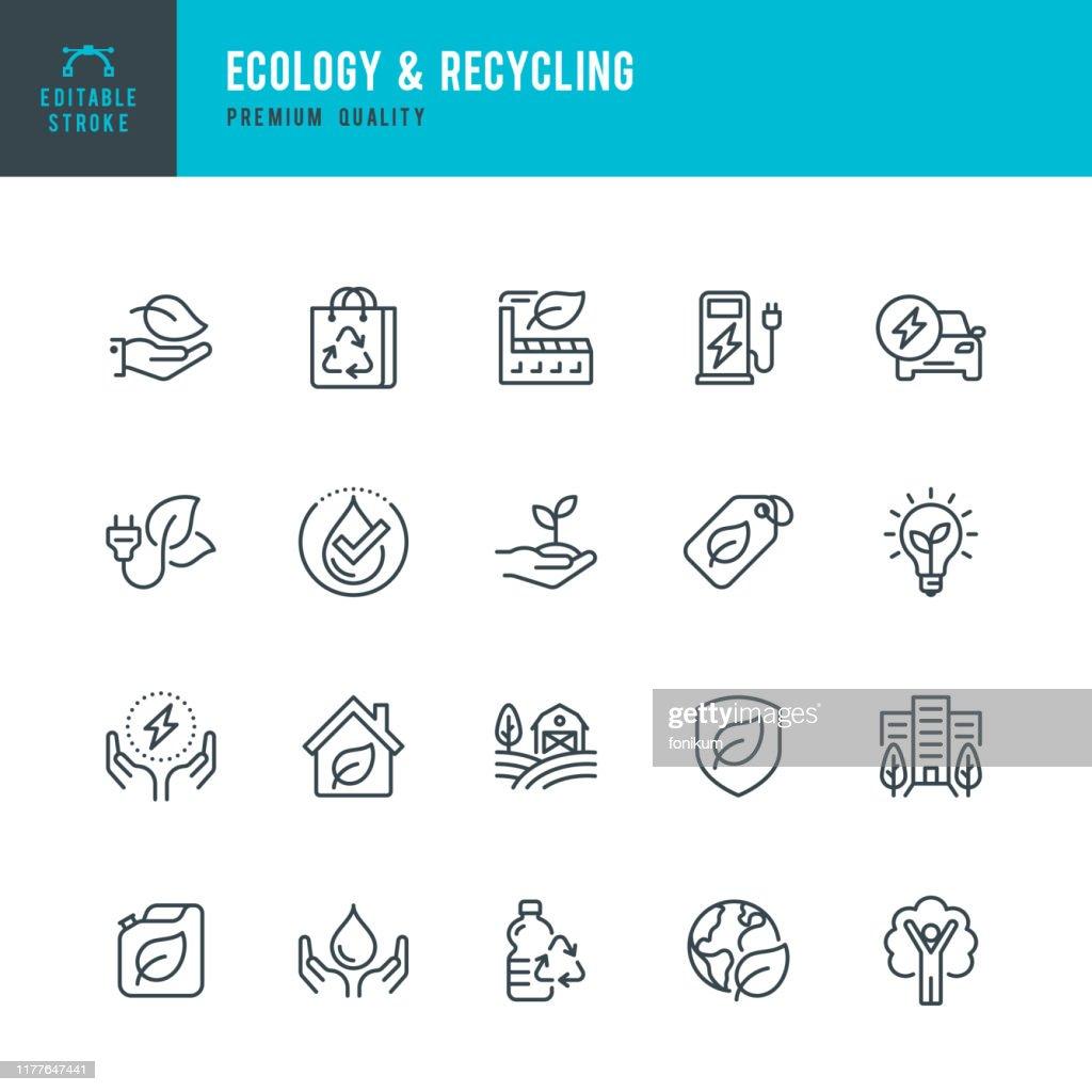 EKOLOGI & återvinning-uppsättning av linje vektor ikoner. Redigerbar stroke. Pixel perfekt. Set innehåller sådana ikoner som klimatförändringar, alternativ energi, återvinning, grön teknik. : Illustrationer