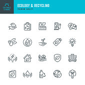 ECOLOGY & RECYCLING - set of line vector icons. Editable stroke. Pixel Perfect. Set contains such icons as Climate Change, Alternative Energy, Recycling, Green Technology.