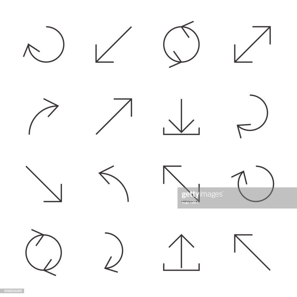 Set of linear arrow, vector illustration.