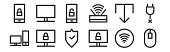 set linear computer hardware icons thin