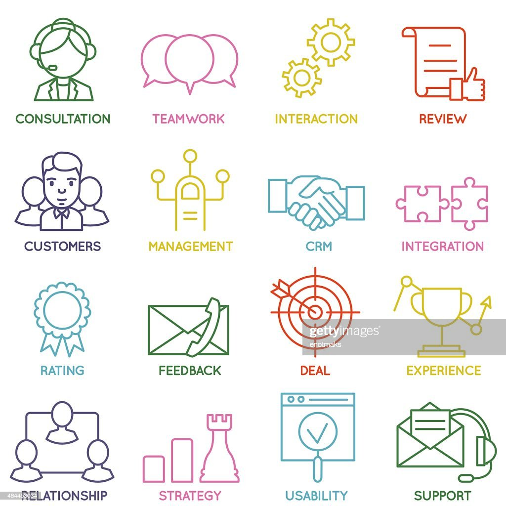 Set of Linear Customer Relationship Management Icons - part 1