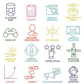 Set of Linear Customer Relationship Management Icons - part 2