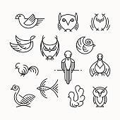 Set of linear design birds, isolated line birds' symbols.