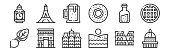 set linear europe icons thin outline