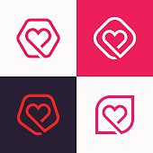 Set of linear heart icon love icon signs.