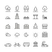 Set of linear icons of city landscape elements