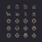 Set of linear icons support and care.