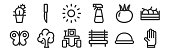 set linear landscaping equipment icons thin