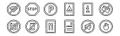 set linear signals prohibitions icons thin