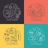 Set of linear vector landscapes. Circle logo design elements.