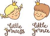 Set of little princess and prince