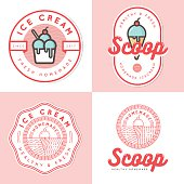 Set of logo, badges, banners, elements for ice cream shop.