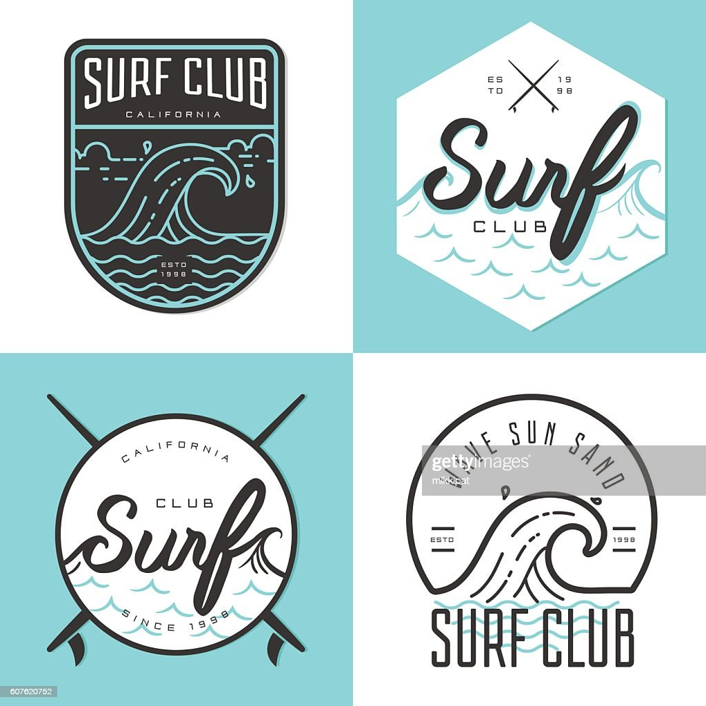 Set of logo, badges, emblem and elements for surfing club.