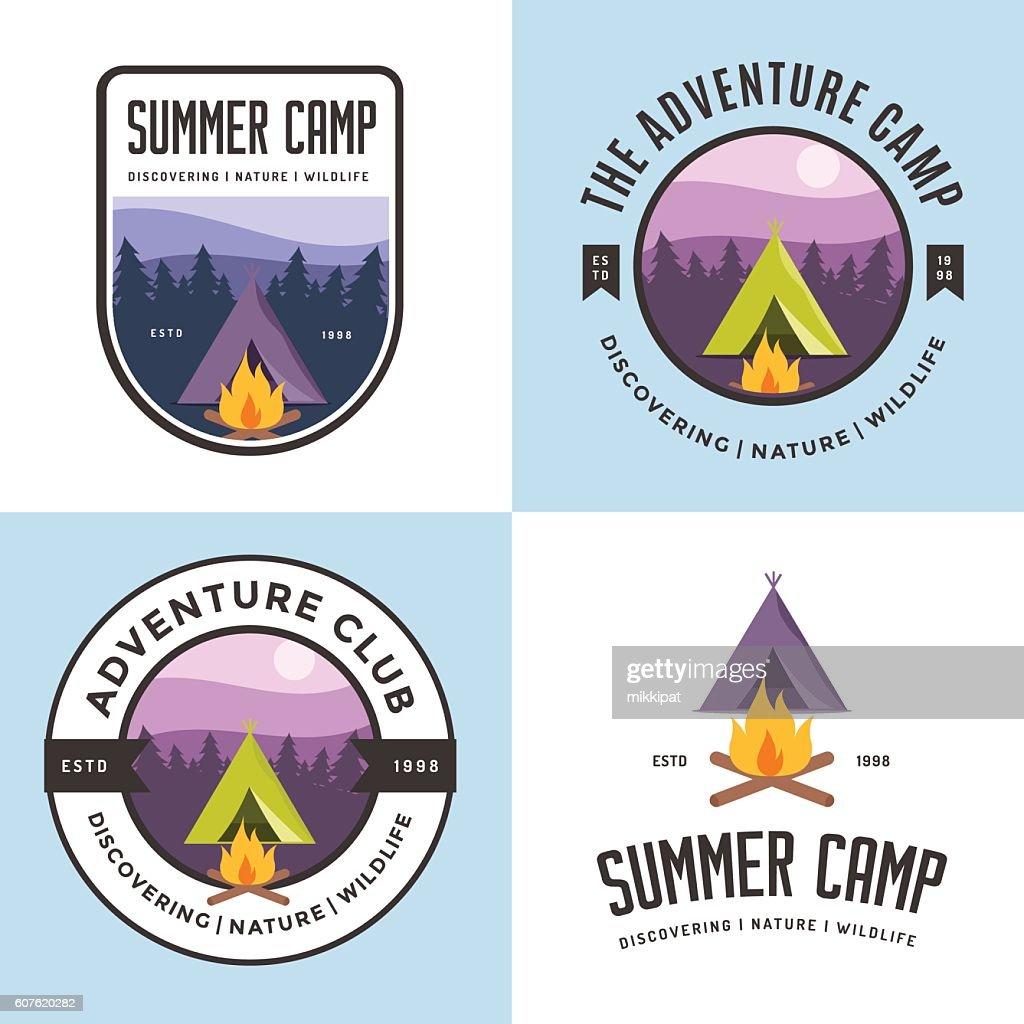 Set of logo, badges summer camp. Outdoor adventure club.