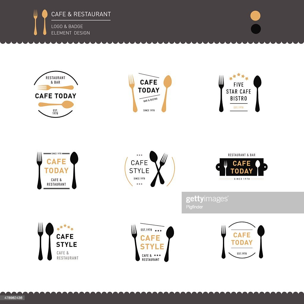 Set of Logo Restaurant and Cafe design icon