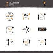 Set of Logo Restaurant and Cafe design icon