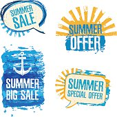 Set of logos, badges, stickers, conversational loot of Summer Sale.