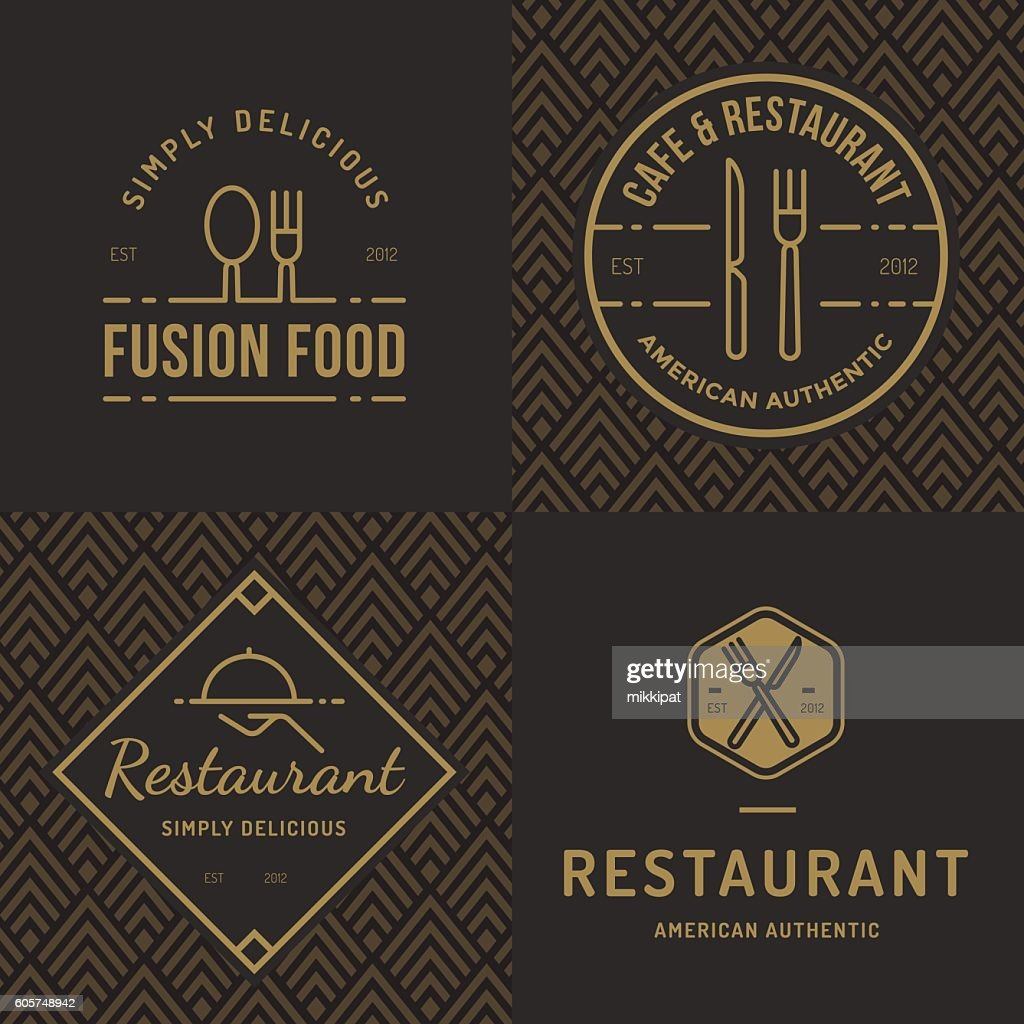 Set of logos for food restaurant catering with seamless pattern.