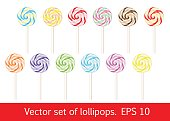 Set of lollipops. Sweet vector candy.
