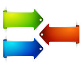 Set of long colorful arrow bookmarks
