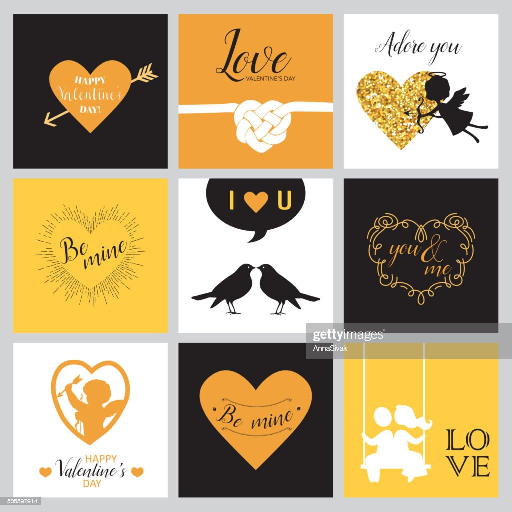 Set of Love Cards for Valentine's Day - Hearts, Frames