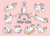 Set of lovely cat unicorn