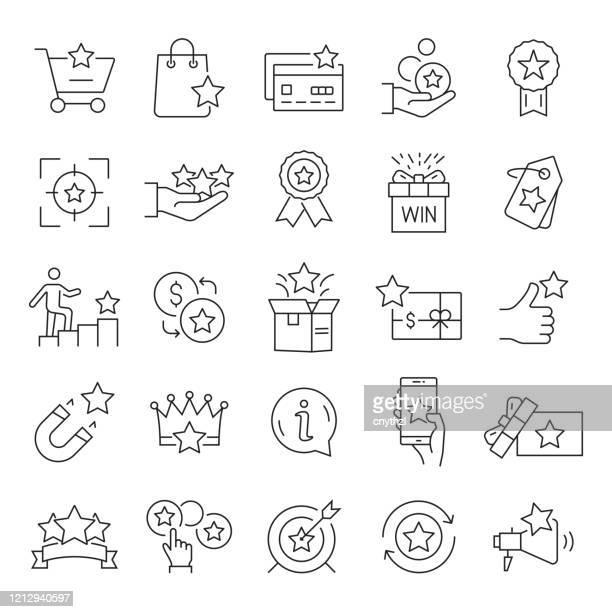 stockillustraties, clipart, cartoons en iconen met set loyaliteitsprogrammagerelateerde lijnpictogrammen. bewerkbare beroerte. eenvoudige overzichtspictogrammen. - aansporing