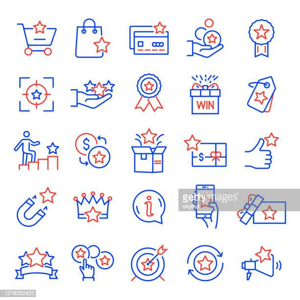 set of loyalty program related line icons. editable stroke. simple outline icons. - incentive stock illustrations