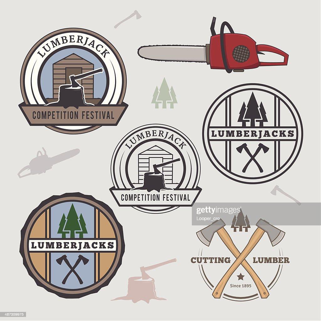 Set of lumberjack design elements
