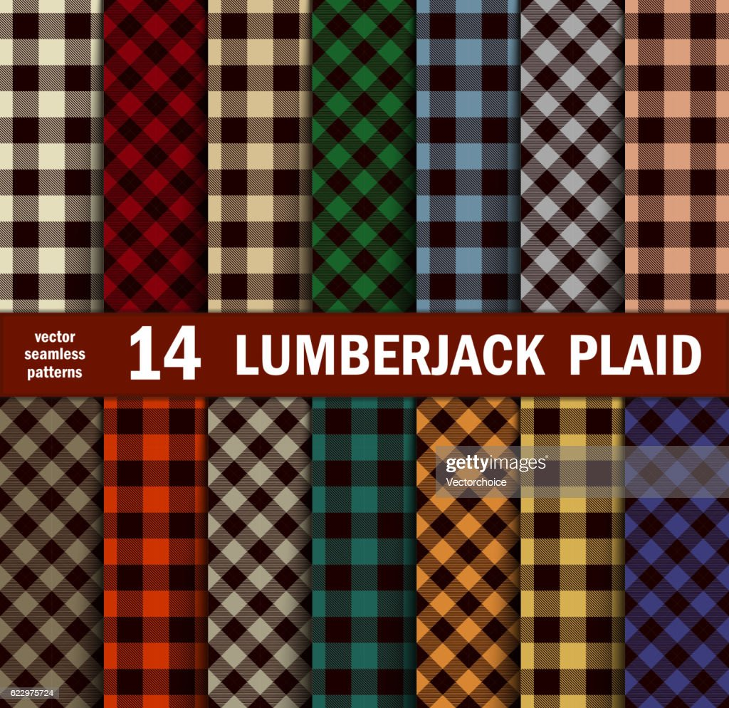 Set of Lumberjack Plaids Seamless Patterns in 14 Colours.