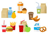 Set of lunch food icons. Vector illustration