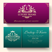 Set of luxury flyer pages set with logo ornament