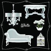 Set of luxury white classic furniture