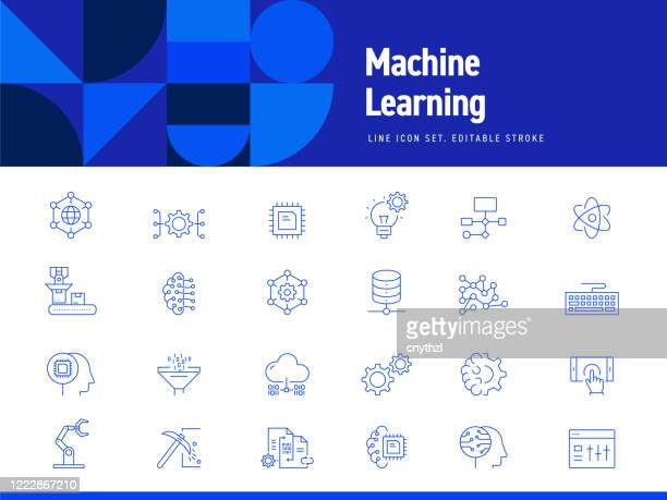 set of machine learning and technology related line icons. editable stroke. simple outline icons. - deep learning stock illustrations