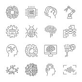 Set of machine learning line icons. Simple pictograms pack. Vector illustration on a white background. Modern outline style icons collection. Editable Stroke