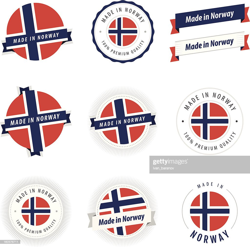 Set of Made in Norway labels and ribbons