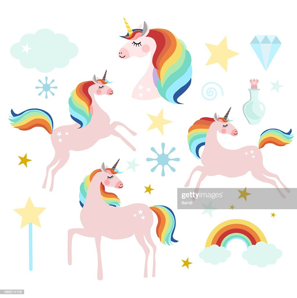 Set of magic fairy unicorn elements