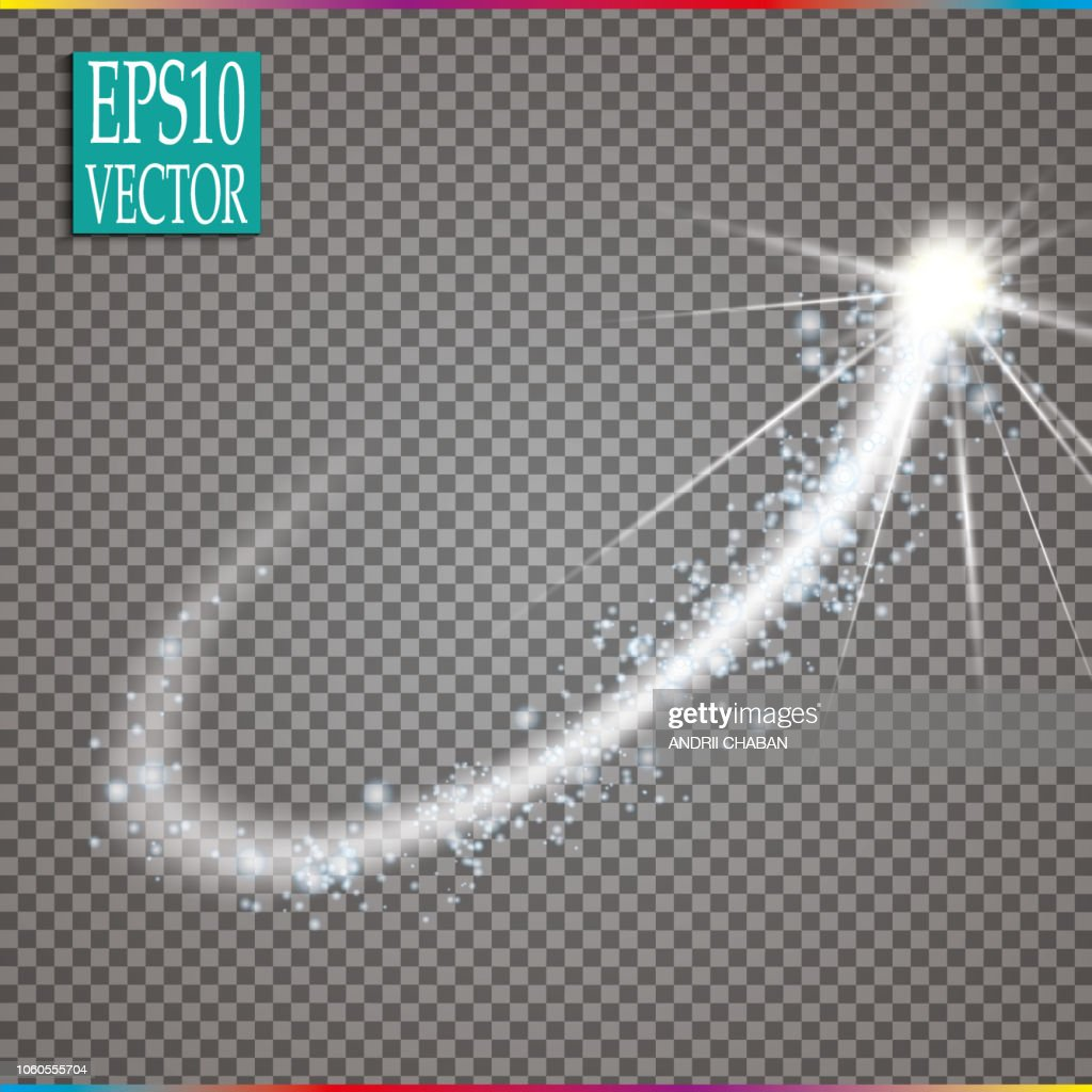 Set of magic glowing spark swirl trail effect isolated on transparent background. Bokeh glitter wave line with flying sparkling flash lights. Vector illustration