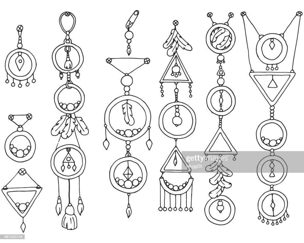 A set of magic items. Vector illustration of Indian culture.