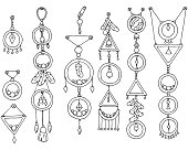 A set of magic items. Vector illustration of Indian culture.
