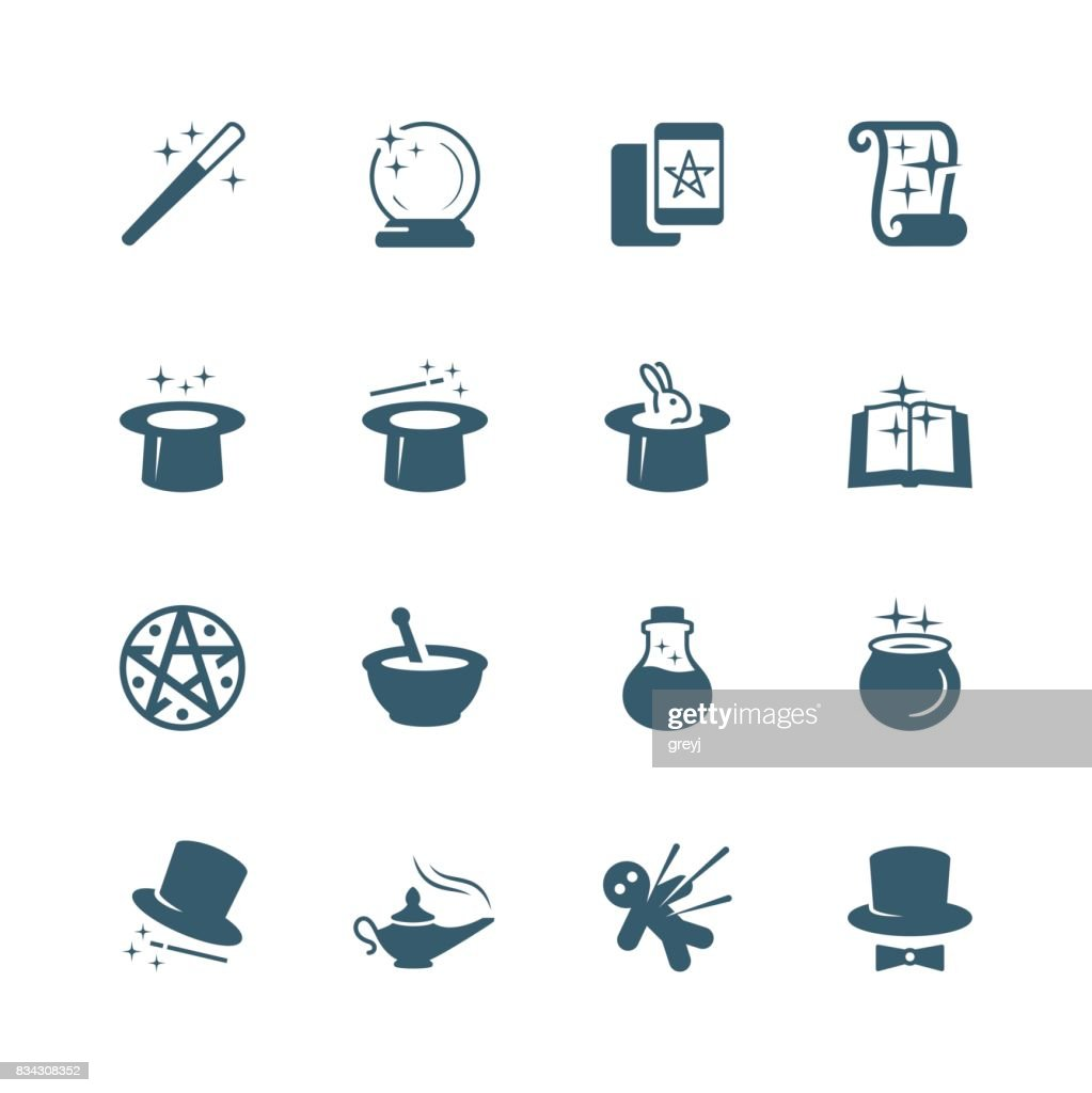 Set of magic related vector icons