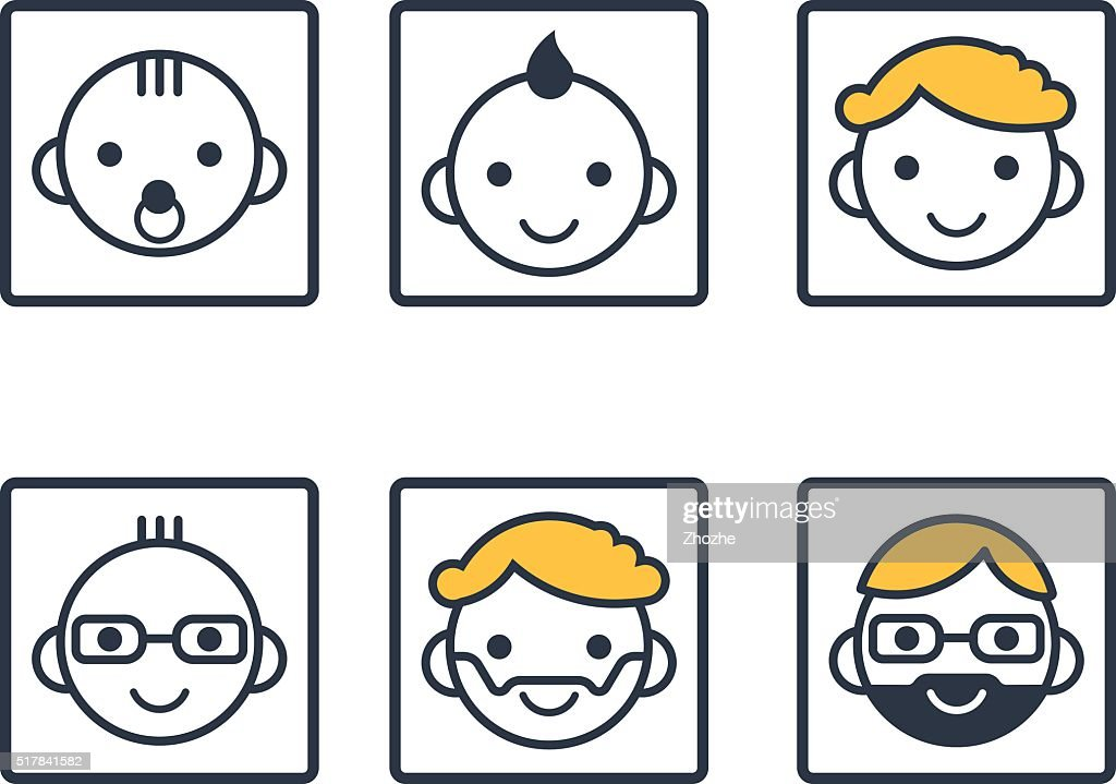 Set of male face icons.