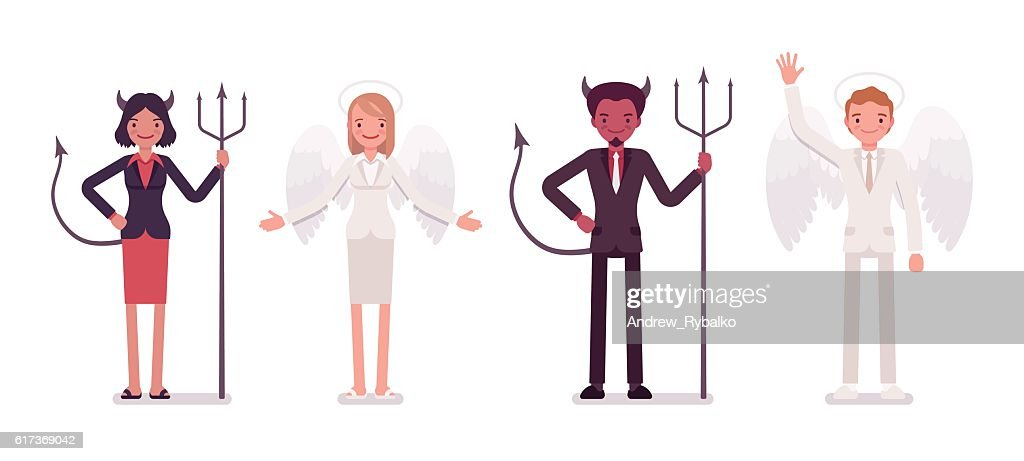 Set of male, female angel and devil in a formal