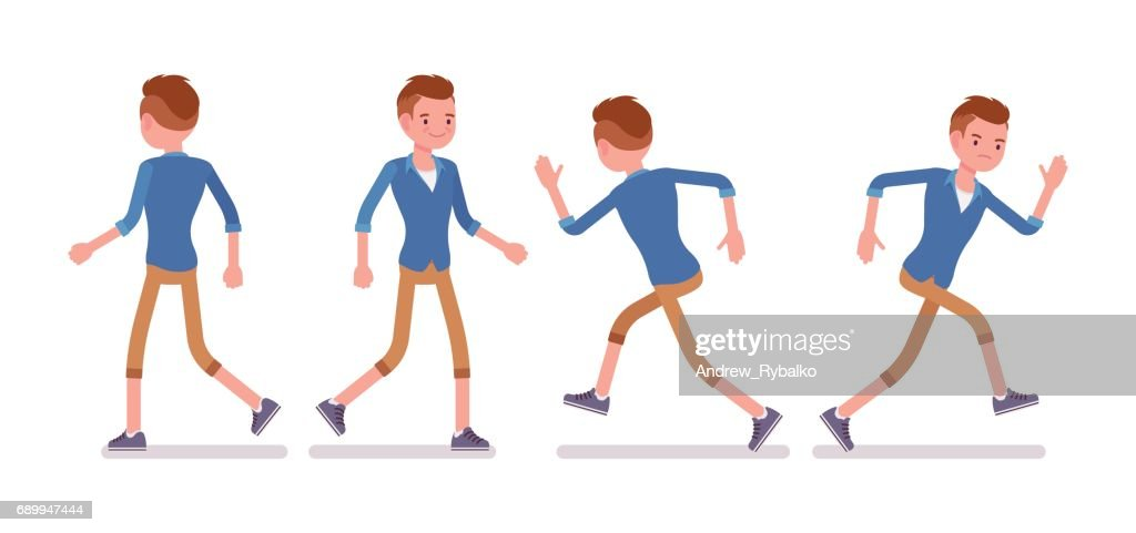 Set of male millennial in walking and runnig pose