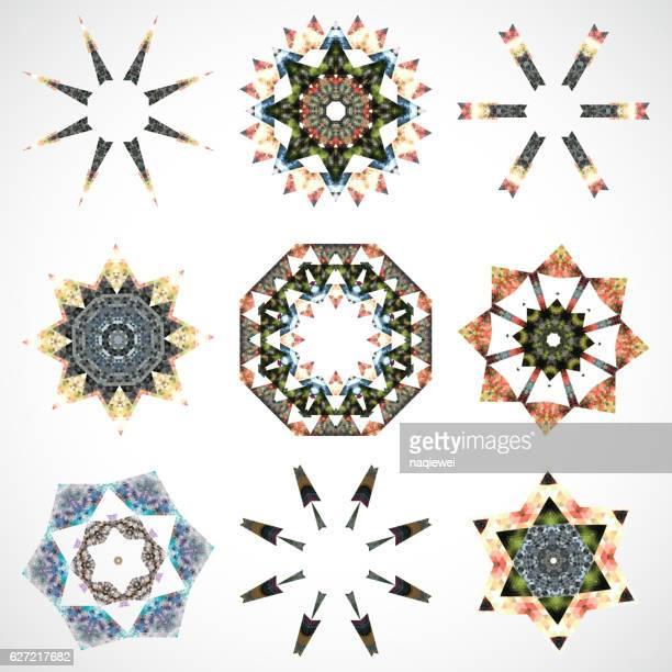 set of mandala pattern icon