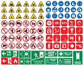 set of mandatory sign, hazard sign, prohibited sign, fire emergency sign.