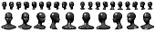 Set of mannequin busts and heads.